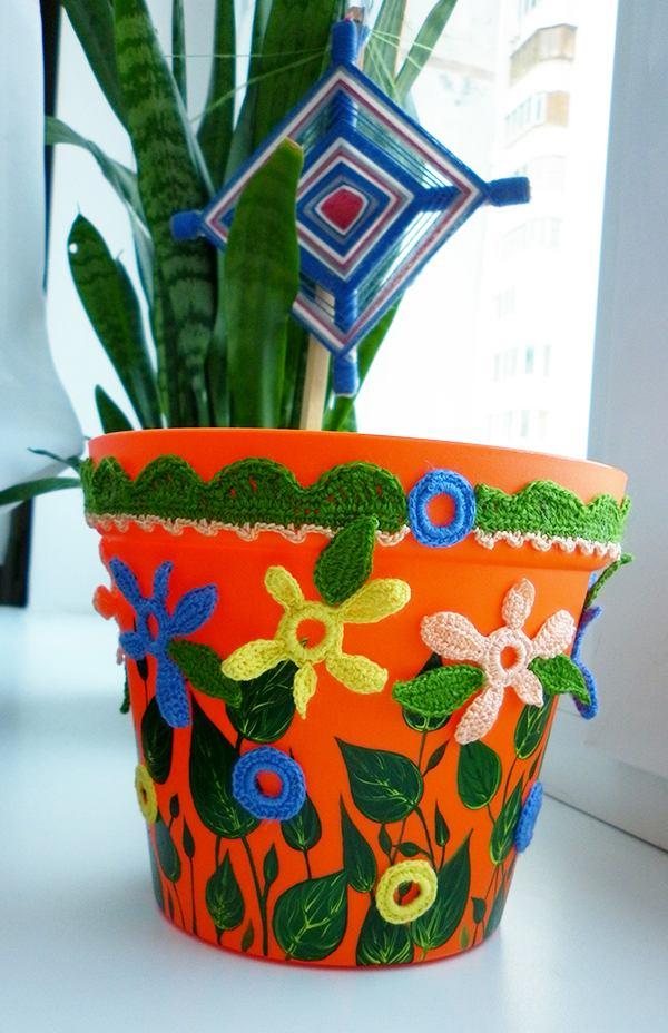 украшение цветочных горшков бисером фото отсутствии вблизи катушки