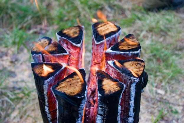 Удаление пня методом финская свеча