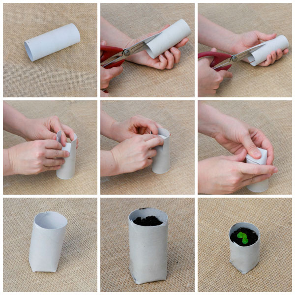 Горшок для рассады из бумажной втулки